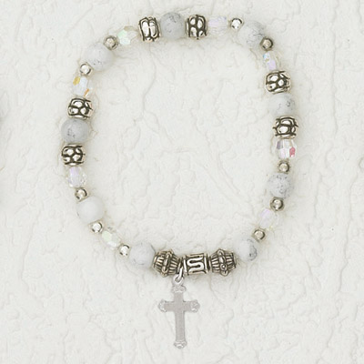 4-Pack - Italian Stretch Bracelet with Cross Charm- Pearl