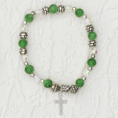 4-Pack - Italian Stretch Bracelet with Cross Charm- Peridot
