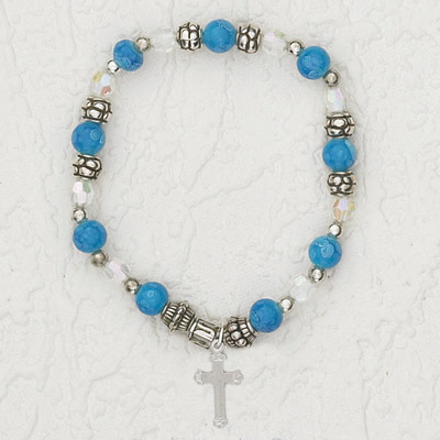 4-Pack - Italian Stretch Bracelet with Cross Charm- Sapphire