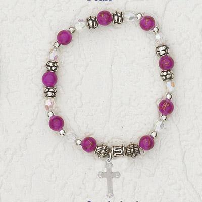 4-Pack - Italian Stretch Bracelet with Cross Charm- Pink Opal