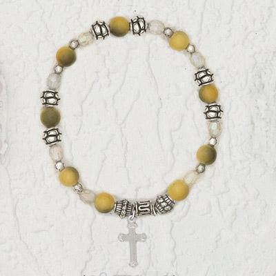 4-Pack - Italian Stretch Bracelet with Cross Charm- Topaz