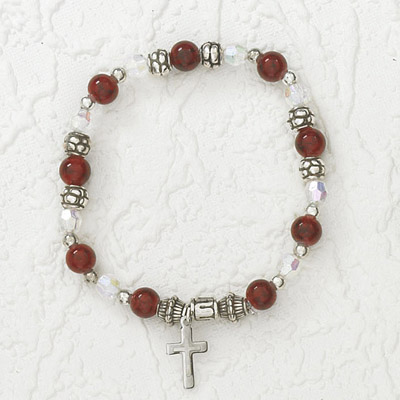 4-Pack - Italian Stretch Bracelet with Modern Cross Charm- Garnet