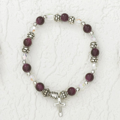 4-Pack - Italian Stretch Bracelet with Modern Cross Charm- Amethyst