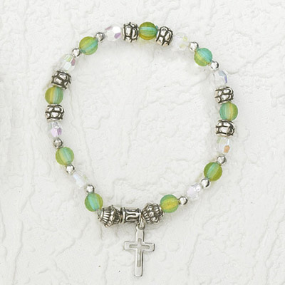 4-Pack - Italian Stretch Bracelet with Modern Cross Charm- Aquamarine