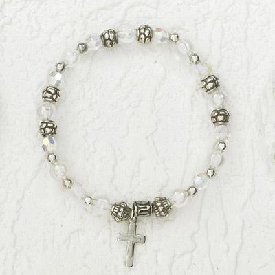 4-Pack - Italian Stretch Bracelet with Modern Cross Charm- Diamond