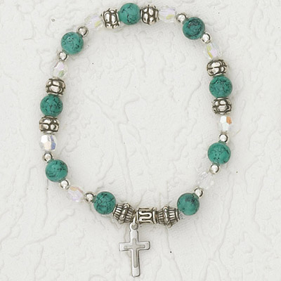 4-Pack - Italian Stretch Bracelet with Modern Cross Charm- Emerald