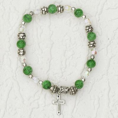 4-Pack - Italian Stretch Bracelet with Modern Cross Charm- Peridot