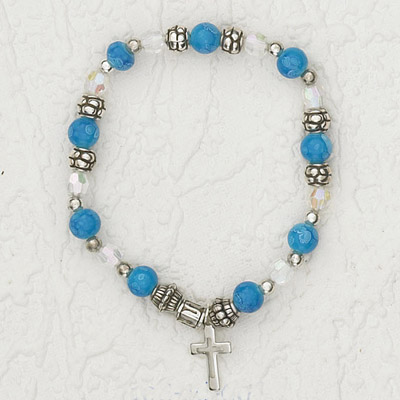 4-Pack - Italian Stretch Bracelet with Modern Cross Charm- Sapphire