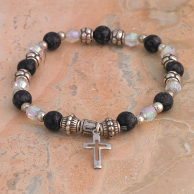 4-Pack - Italian Stretch Bracelet with Modern Cross Charm- Black