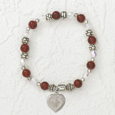 4-Pack - Italian Stretch Bracelet with Milagro Heart and Cross Charm- Garnet
