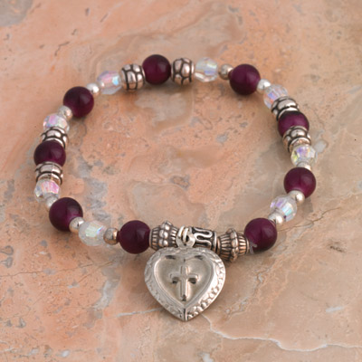 4-Pack - Italian Stretch Bracelet with Milagro Heart and Cross Charm- Amethyst