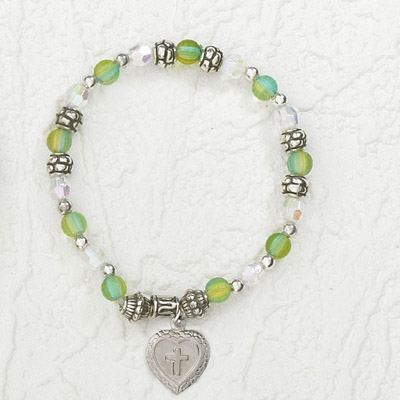 4-Pack - Italian Stretch Bracelet with Milagro Heart and Cross Charm- Aquamarine
