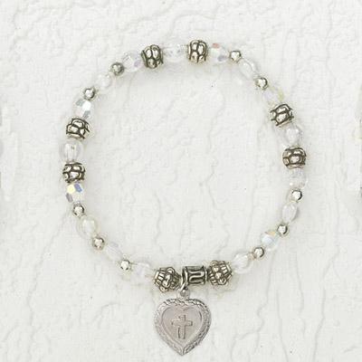 4-Pack - Italian Stretch Bracelet with Milagro Heart and Cross Charm- Diamond