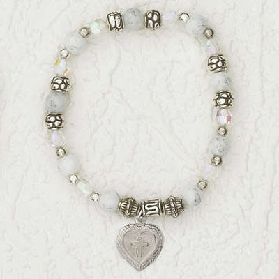4-Pack - Italian Stretch Bracelet with Milagro Heart and Cross Charm- Pearl