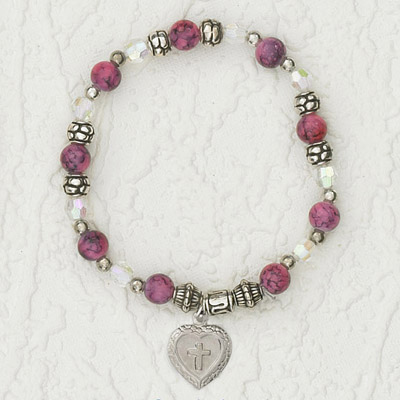 4-Pack - Italian Stretch Bracelet with Milagro Heart and Cross Charm- Ruby