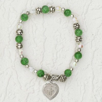 4-Pack - Italian Stretch Bracelet with Milagro Heart and Cross Charm- Peridot