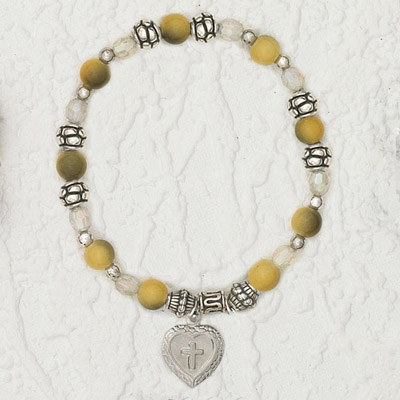 4-Pack - Italian Stretch Bracelet with Milagro Heart and Cross Charm- Topaz