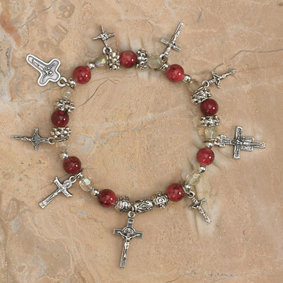 4-Pack - Crucifixes Stretch Bracelet-Garnet Stretch Bracelet contains 7 Crucifix Pendants