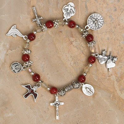 4-Pack - Holy Spirit  Stretch Bracelet-Garnet Stretch Bracelet contains 7 Confirmation Pendants