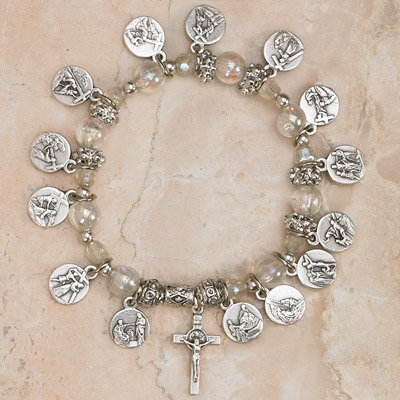 4-Pack - 14 Stations of the Cross Stretch Bracelet-Diamond Contains Pendant with Images of the 14 Stations