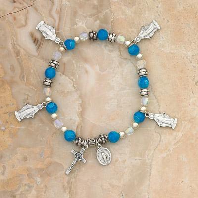 4-Pack - Lady of Grace Charm Bracelet on Sapphire Italian Glass Stretch Bracelet