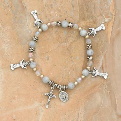 4-Pack - Divino Nino Charm Bracelet on a Pearl Italian Glass Stretch Bracelet