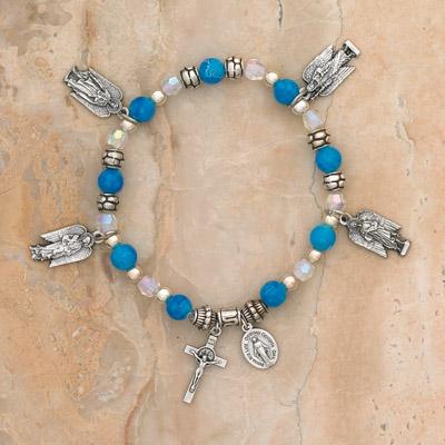 4-Pack - 4 Archangels (Michael, Gabriel, Raphael, Uriel)  Sapphire Italian Glass Stretch Bracelet