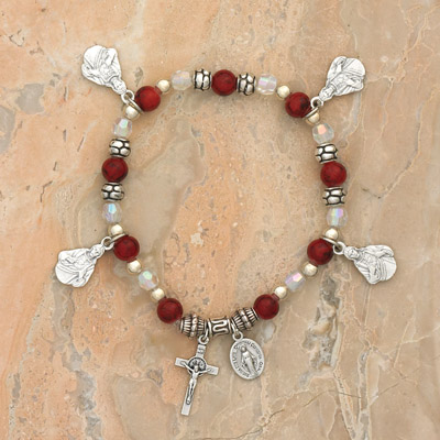 4-Pack - Sacred Heart Charm Bracelet on a Garnet Italian Glass Stretch Bracelet