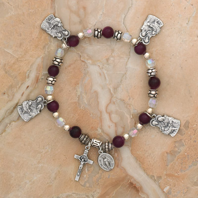 4-Pack - Holy Family Charm Bracelet on an Amethyst Italian Glass Stretch Bracelet