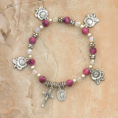 4-Pack - Rose Petal Charm Bracelet on a Rose Italian Glass Stretch Bracelet