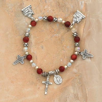 4-Pack - Comfort Charm Bracelet on a Garnet Italian Glass Stretch Bracelet