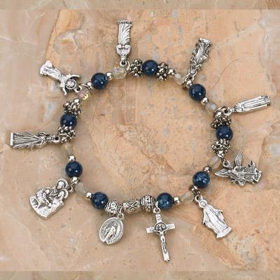 4-Pack - Saints Stretch Bracelet- Blue Topaz