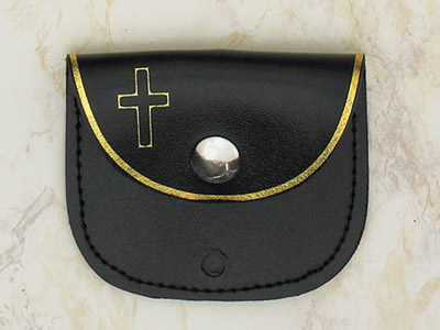 12-Pack - Black Rosary Pouch 3 inch x 2-1/2 inch