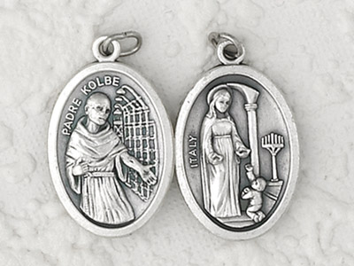 25-Pack - Mary of Father Kolbe / Father Kolbe  -  Oxidized Pendant