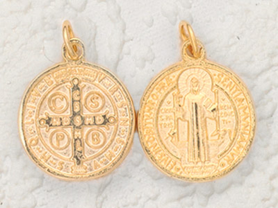 3-Pack - 2-1/2 Inch St Benedict Pendant- (including loop)  Gold Plated