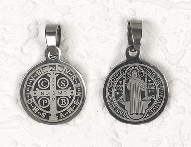 12-Pack - St Benedict Stainless Steel Pendant- approx 3/4 inch (2cm)