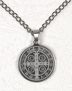 St Benedict Stainless Steel Pendant with Chain