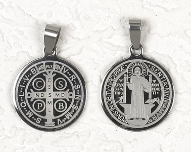 12-Pack - St Benedict Stainless Steel Pendant- approx 1 inch (25cm)