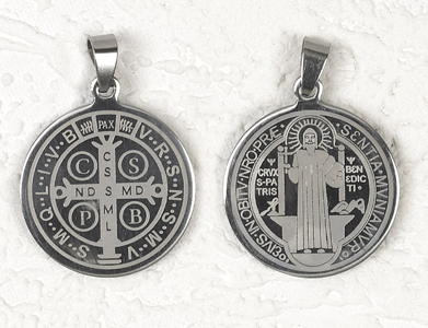 12-Pack - St Benedict Stainless Steel Pendant- approx 125 inch (3cm)
