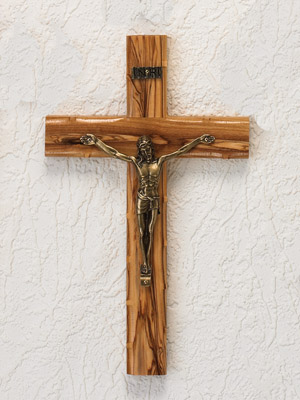 "10"" Olive Wood Cross Gold Corpus"