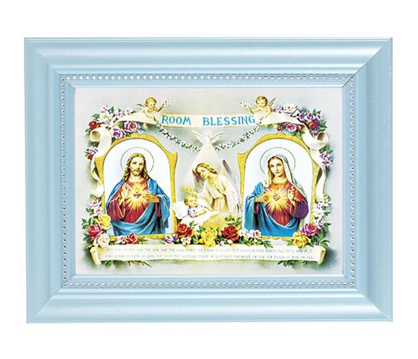 Baby Room Blessing Print In Blue Frame