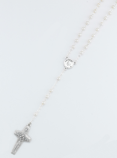 4MM White Pearlized Bead Pope Francis Rosary