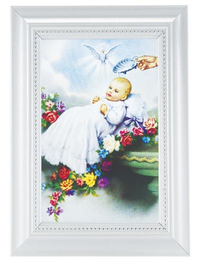 Baptism Print In White Frame