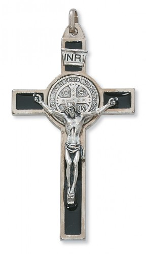 """3"""" Silver St Benedict Crucifix"""
