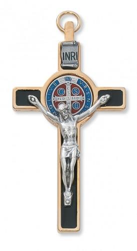 """3"""" Gold St Benedict Crucifix"""""""