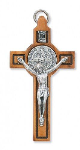 """3"""" Olive Wood St. Benedict Crucifix"""