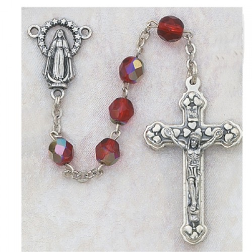 6MM AB Ruby/July Rosary