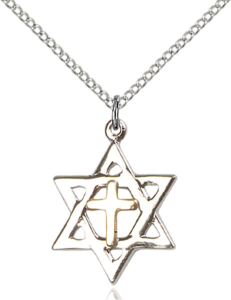Two-Tone GF/SS Star of David Pendant