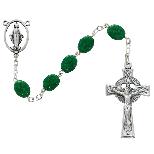 Sterling Silver 6X8MM Oval Shamrock Rosary
