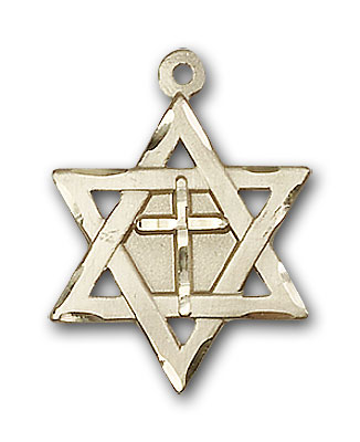 14K Gold Star of David W/ Cross Pendant